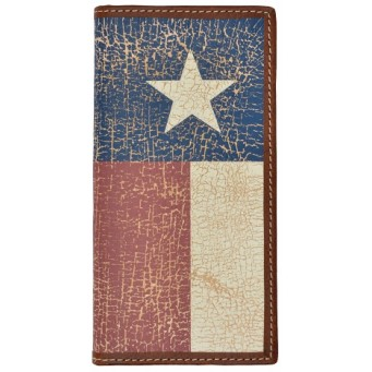 3D Brown rodeo wallet with vintage distressed Texas flag inlay
