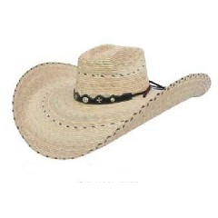 Alamo Old West Texas Two Tone Square Crown 7 Inch Brim Cowboy Hat