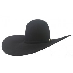 "American Hat Company 40X Black Open Crown 5"" Brim 6"" Crown Felt Cowboy Hat"