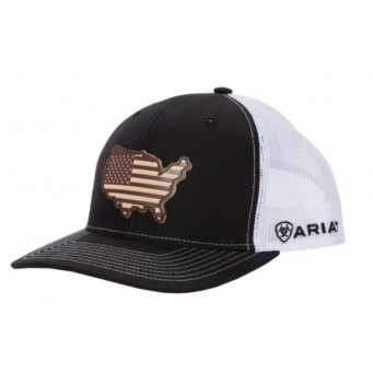 Ariat Black and White USA Snapback Cowboy Cap