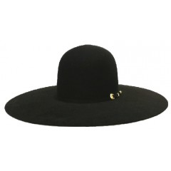 "Atwood Hat Company 5X Open Crown 4.5"" Brim Black Felt Hat"