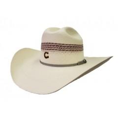 "Charlie 1 Horse Sierra Ivory and Red 4 1/4"" Brim Straw Cowboy Hat"