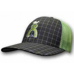 HOOey Cap Grid Punchy Navy And Green Plaid Trucker Cowboy Cap
