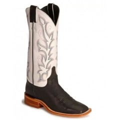 Bent Rail by Justin Cowboy Boots Black and White Ladies Cowboy Boots
