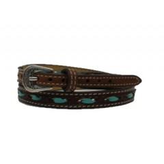 M&F Nocona Turquoise Rawhide Laced Leather Hatband