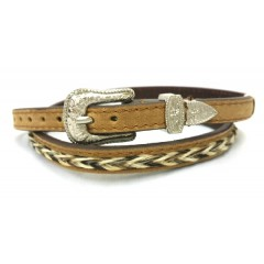 M&F Double S Collection Braided Horse Hair Leather Hat Band