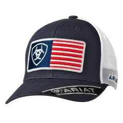 Ariat Navy USA Flag Patch Snap Back Cowboy Cap