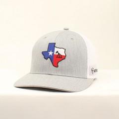Ariat Grey and White Texas Flag Snap Back Cowboy Cap