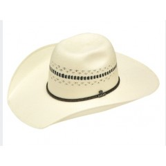 "Ariat Ivory and Black 4 1/2"" Brim Bangora Straw Cowboy Hat"