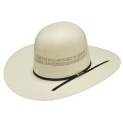"Twister Ivory Bangora Open Crown 4"" Brim Straw Cowboy Hat"