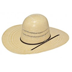 """Twister 20X Ivory and Wheat Open Crown 4 1/2"""" Brim Straw Cowboy Hat"""