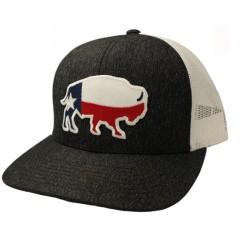 Red Dirt Hat Co. Texas Buffalo Heather Black/White Snapback Cowboy Cap